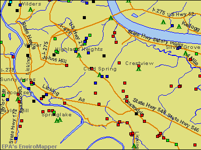 Cold Spring, Kentucky environmental map by EPA