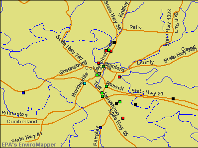 Columbia, Kentucky environmental map by EPA