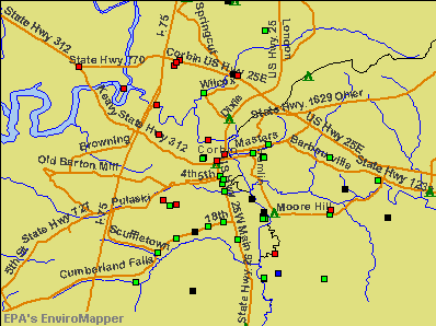 Corbin, Kentucky environmental map by EPA