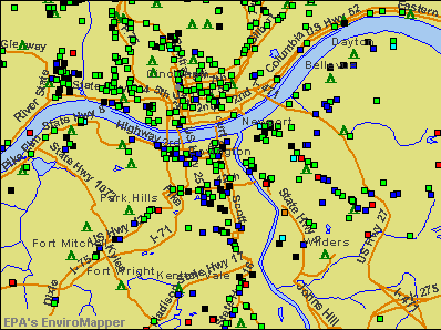 Covington, Kentucky environmental map by EPA