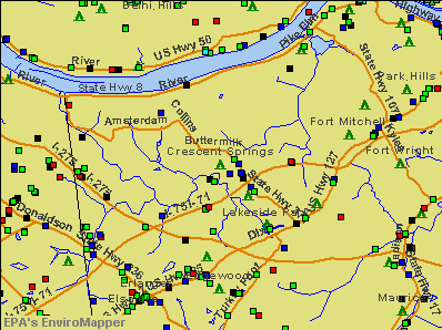 Crescent Springs, Kentucky environmental map by EPA