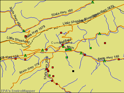 Cumberland City, Kentucky environmental map by EPA