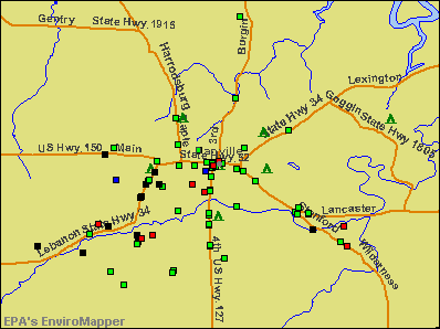 Danville, Kentucky environmental map by EPA