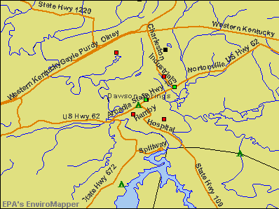 Dawson Springs, Kentucky environmental map by EPA