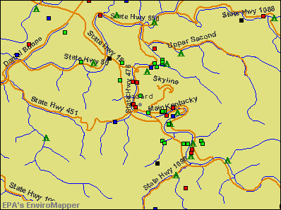 Hazard, Kentucky environmental map by EPA