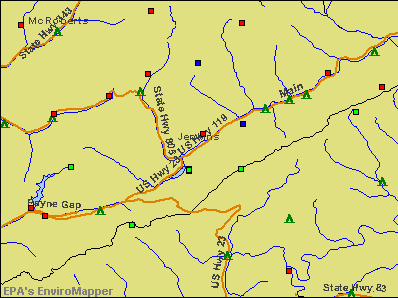 Jenkins, Kentucky environmental map by EPA