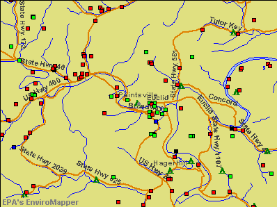Paintsville, Kentucky environmental map by EPA