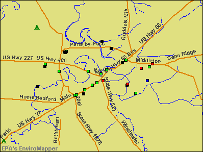 Paris, Kentucky environmental map by EPA