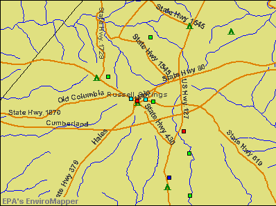 Russell Springs, Kentucky environmental map by EPA