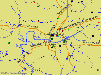 Shepherdsville, Kentucky environmental map by EPA