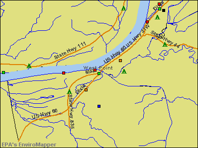 West Point, Kentucky environmental map by EPA