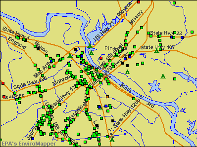 Alexandria, Louisiana environmental map by EPA