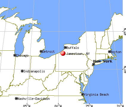 Jamestown, New York map