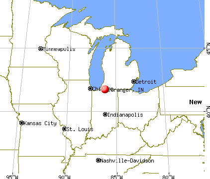 Granger, Indiana map