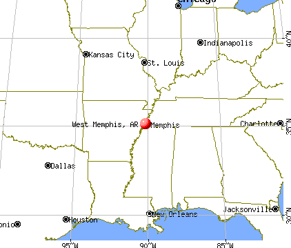 West Memphis, Arkansas map