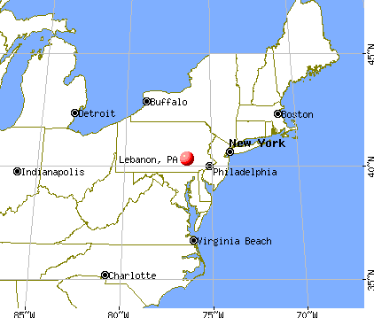 Lebanon, Pennsylvania map