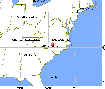 Sanford, North Carolina map