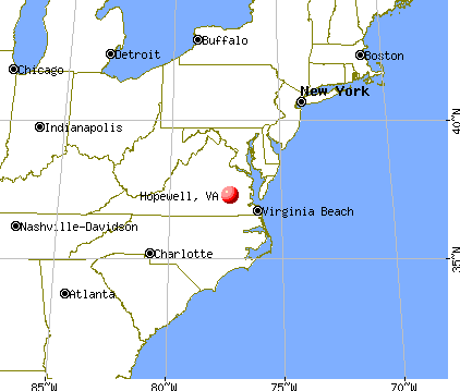 Hopewell, Virginia map