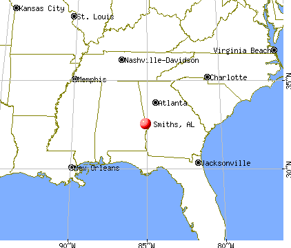 Smiths, Alabama map