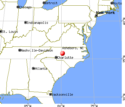 Asheboro, North Carolina map