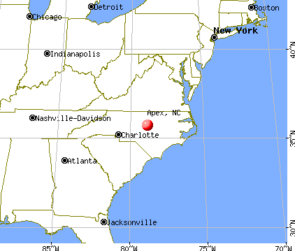 Apex, North Carolina map