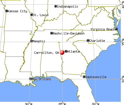 Carrollton, Georgia map