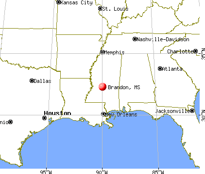 Brandon, Mississippi map