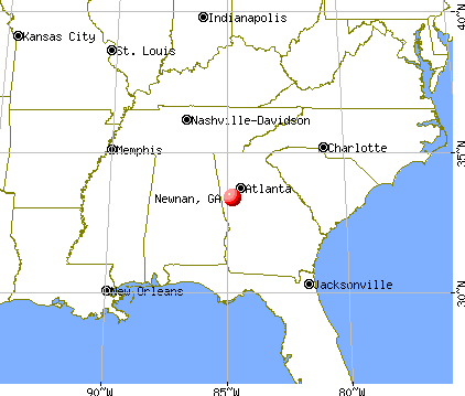 Newnan, Georgia map