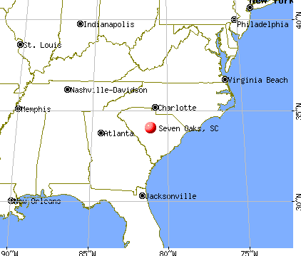 Seven Oaks, South Carolina map