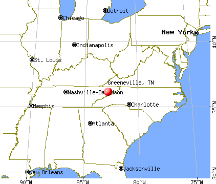 Greeneville, Tennessee map