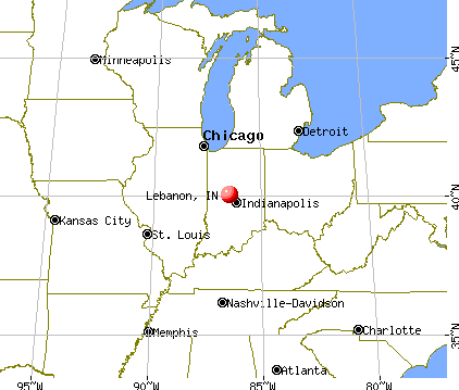 Lebanon, Indiana map