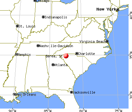 Berea, South Carolina map