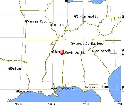 Corinth, Mississippi map