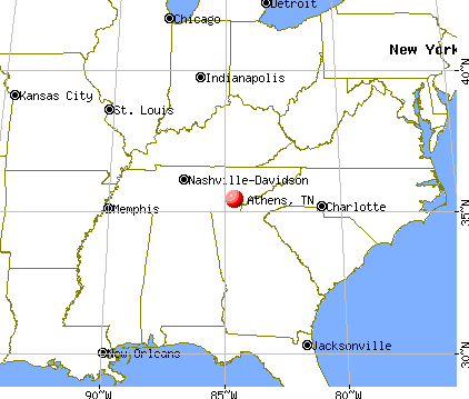 Athens, Tennessee map
