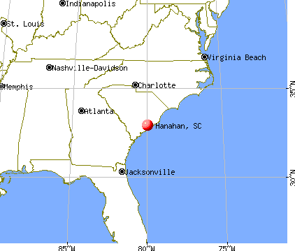 Hanahan, South Carolina map