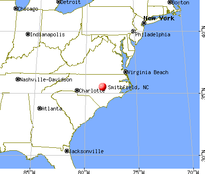 Smithfield, North Carolina map