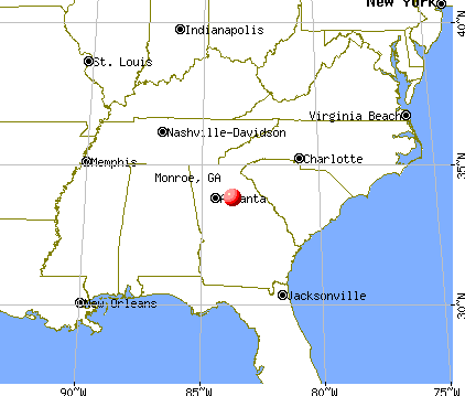 Monroe, Georgia map
