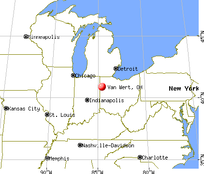 Van Wert, Ohio map