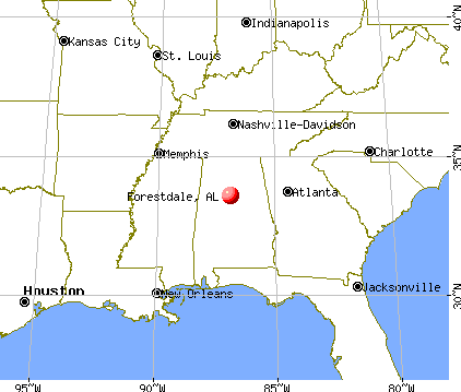 Forestdale, Alabama map