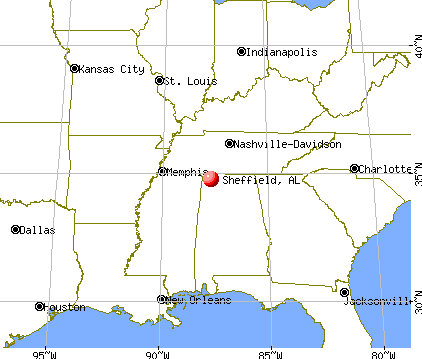 Sheffield, Alabama map