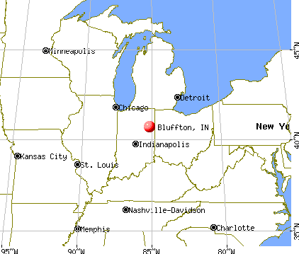 Bluffton, Indiana map