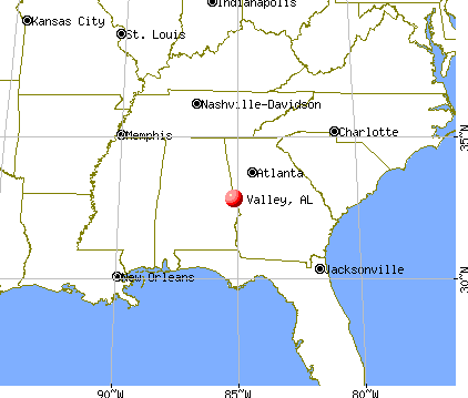 Valley, Alabama map