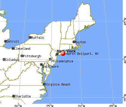 North Bellport, New York map