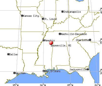 Booneville, Mississippi map