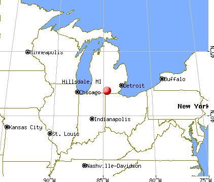 Hillsdale, Michigan map