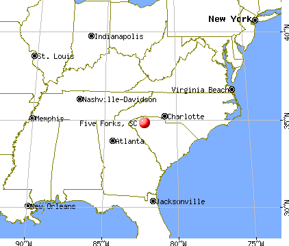 Five Forks, South Carolina map