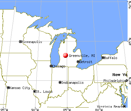 Greenville, Michigan map