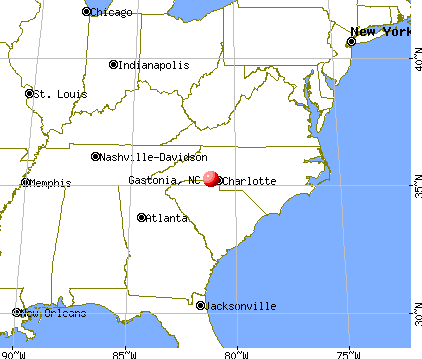 Gastonia, North Carolina map