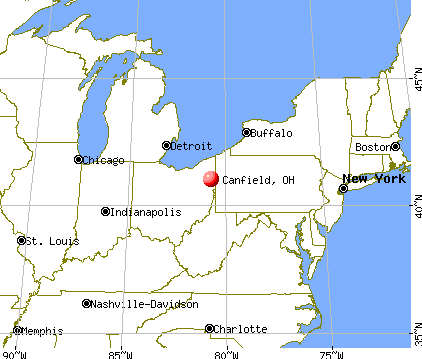 Canfield, Ohio map