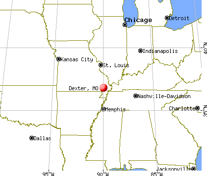 Dexter, Missouri map